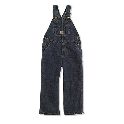 Boys Overalls - Carhartt Little Boys' Washed Denim Bib Overall, Worn In Blue, 7