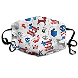 Vtwvg American Flag Style Poker Knight Washable Reusable Safety Mask, Stylish Polyester Adolescent Couple Dust-Proof Adjustable Earrings