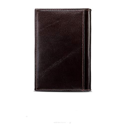 Color : Dark Coffee Ljie Mens Retro Business Wallet Cowhide Card Package Mullti-Function Genuine Leather Wallet