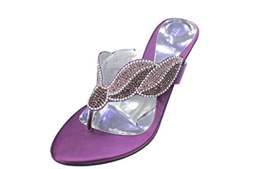 W & W Mujeres Señoras Noche Tacón Sandalias de moda comodidad sandalias diamante boda Party Zapatos Tamaño 4–10(Reena) morado