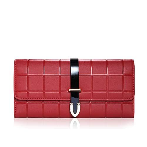 unita rosso Portafoglio tinta donna rosa Limeinimukete con in Vino colore Wild pelle borsa Cow lunga IaUqF