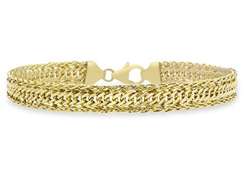 """Or jaune 9Ct Coupe Diamant Spiga Bracelet Gourmette 18cm/7"""""""