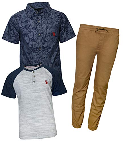 U.S. Polo Assn. Little Boy\'s 3-Piece Pant Set with Woven Shirt and Tee, Khaki/Navy Floral, Size 6'
