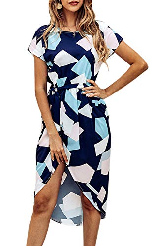 - ECOWISH Womens Dresses Summer Casual V-Neck Floral Print Geometric Pattern Belted Dress 049 Blue M