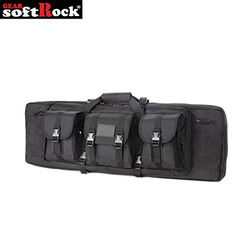 Softrock Gear ST-SRG-600D-36-BLK Double Rifle Case - Padded Long Gun Case & Rifle Storage Backpack Integrated Pistol Cases and Magazine Storage (Black/Plain, 36-Inch)