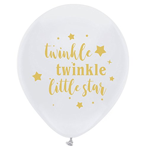 White Twinkle Twinkle Little Star Balloons, 12inch (16pcs) Boy or Girl Baby Shower or Birthday Party Decorations Supplies by MAGJUCHE