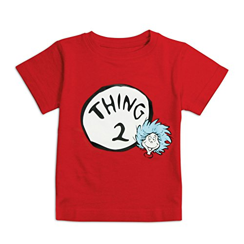 Bumkins Unisex Baby Dr. Seuss Thing 2 Short Sleeve Tee, Red, 24 Months -