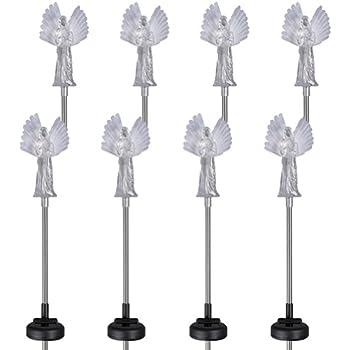 8 pack guardian angel solar garden color changing led stake light