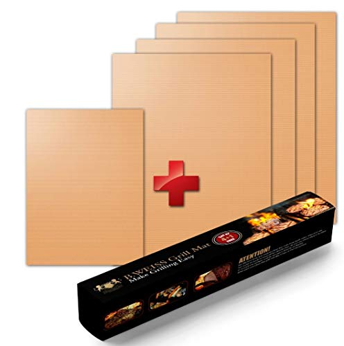 B. WEISS Copper Grill Mat Set of 5 - Non-stick BBQ Grill & Baking Mats - Golden Grill Mats & Bake Mats Reusable & Easy to Clean - grill mat as seen on tv 4 large mat and 1 small for the go.
