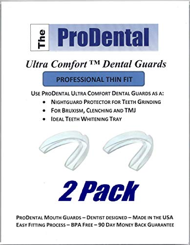 Mouth Guard for Grinding Teeth - 2 Pack, Made in USA | Thin and Trim Anti Grinding Night Guard - Teeth Whitening Dental Guard | Stops Bruxism - Teeth Clenching | No BPA, FDA Approved Material
