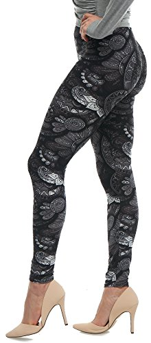 LMB Lush Moda Extra Soft Leggings with Designs- 505F Floral Abstract (Spandex Floral Leggings)