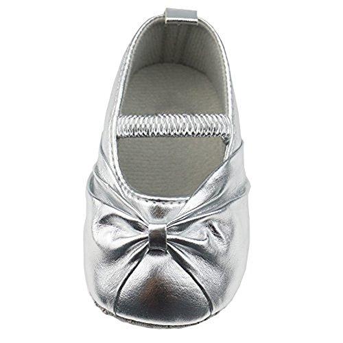 Smallt Baby Girl Soft Sole Pu Toddler Shoes (L=13=9-12 Months, Light Silver(matte)
