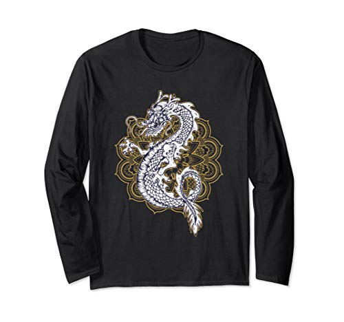 (Chinese Dragon Mandala Design Long Sleeve T-Shirt)