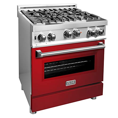 ZLINE 30 in. Professional Gas on Gas Range in Stainless Steel with Red Gloss Door (RG-RG-30)