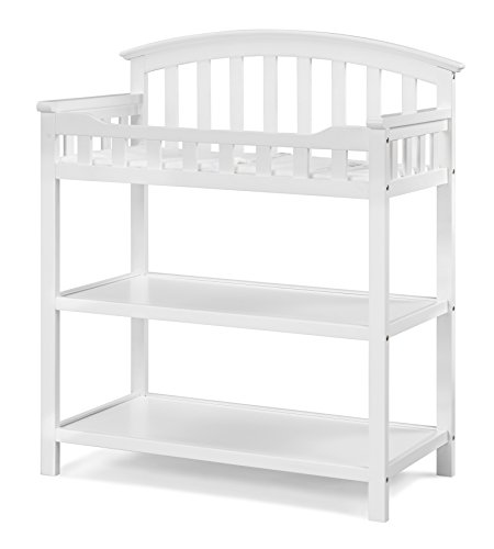 (Graco Changing Table with Water-Resistant Change Pad and Safety Strap, White, Multi Storage Nursery Changing Table for Infants or Babies)