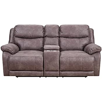 MStar Hunter Lay Flat Dual Reclining Loveseat With Dual Power Adjustable  Headrests, Storage Console,