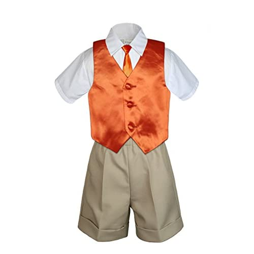 Suits 7pc Baby Boy & Toddler Formal Vest Shorts Gray Suit Extra Vest Bow Tie Set S-4T Clothing, Shoes & Accessories