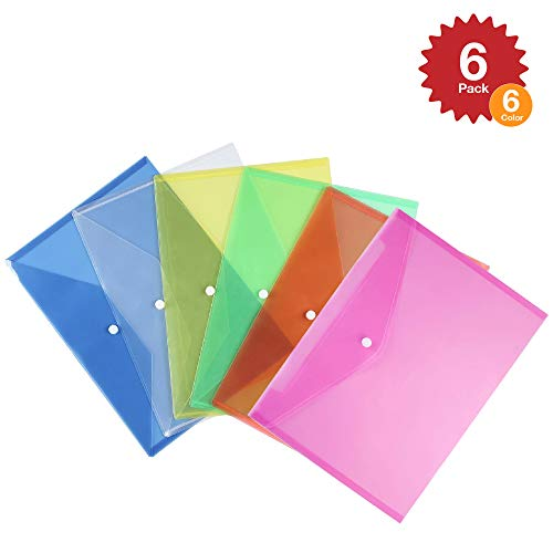Multicolored Clear Document Folder with Snap Button ~ Poly Filing Envelope Stores US Letter / A4 Size Paper ~ 6 Assorted Colors (Multi Color- Set of 6)