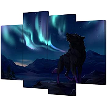 VVOVV Wall Decor - Northern Lights Canvas Print Wolf Under Aurora Polaris Wall Art Landscape Picture Moutain Paintings Home Decor Contemporary Artwork