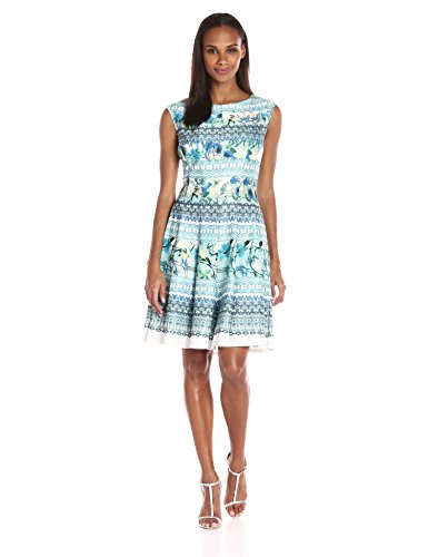 Julian Taylor Women's Cap Sleeved Abstract Floral Printed Dress, Blue/Green ()