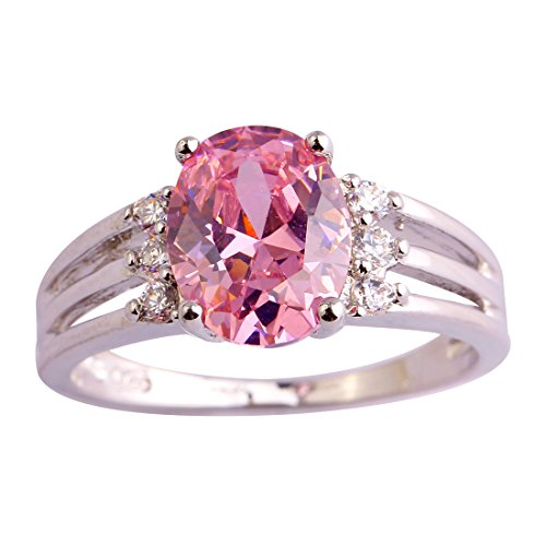 Psiroy 925 Sterling Silver Oval Shaped Created Pink Topaz Filled Anniversary Ring Size 6