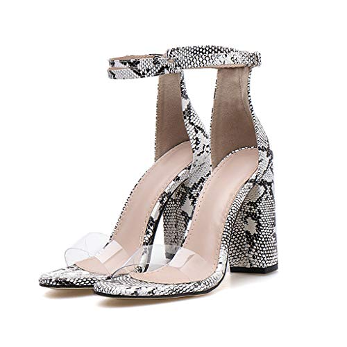 Cenglings Womens Sexy Snakeskin Print Open Toe High Chunky Heel Pumps Party Lace Up Shoes Transparent Shallow Sandal White