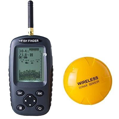 Venterior Portable Fish Finder Rechargeable & Wireless Sonar Sensor Fishfinder Depth Locator with Fish Size, Water Temperature, Dot Matrix 40m Range