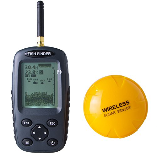 Venterior Portable Fish Finder Rechargeable & Wireless Sonar Sensor Fishfinder Depth Locator with Fish Size, Water Temperature, Dot Matrix 40m Range, 80m Distance