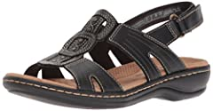 The leisa vine by Clarks collection is a flat sandal with a carefully crafted leather upper with maximum foot support. A geometric pattern on the leather upper adds extra visual interest, and hook and loop fastening at the heel makes for an e...