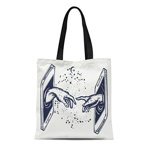 Semtomn Cotton Canvas Tote Bag New Technology Human Hands Touching Fingers Symbol of Spirituality Reusable Shoulder Grocery Shopping Bags Handbag Printed (Best Firewall For Voip)