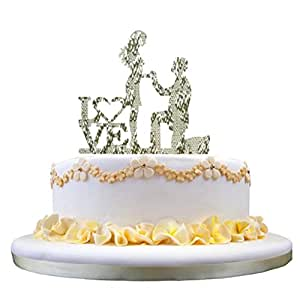 "Muxika New Fashion Sweet Wedding Cake Topper Bride and Groom Silhouette Cake Toppers with Art Words ""LOVE"" Cake Decoration (Silver)"