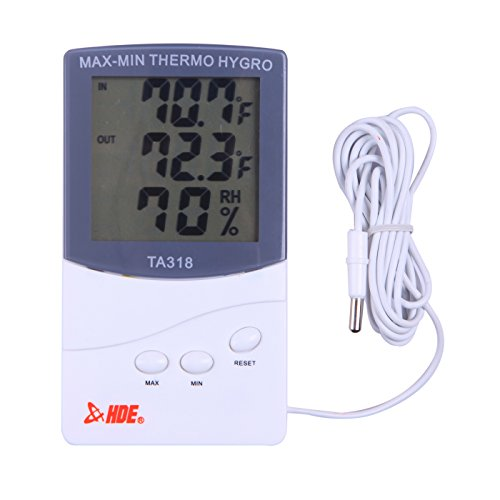 HDE Indoor/Outdoor Thermometer and Hygrometer LCD Weather Station - Indoor Humidity Monitor