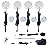 AIBOO Wireless 12V LED Under Cabinet Lighting Dimmable with RF Remote Controller, 4 Pack of LED Puck Lights, Total of 10W, for Kitchen Closet Counter Lighting (3000K Warmwhite)