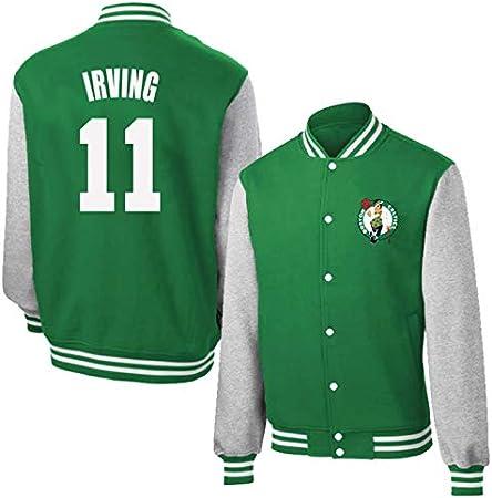 Celtics 11# Kyrie Irving - Chaqueta de baloncesto para hombre, diseño retro de baloncesto para niño, manga larga, ropa deportiva (S-3XL) verde-XXL