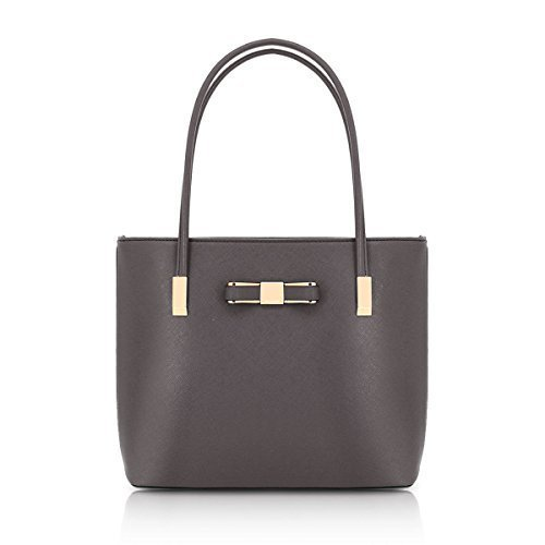 Fashion Womens Tote Leather Dark Bag Detail Top Bow Shoulder Handle Grey J48 Ladies Faux Messenger UqwarU8
