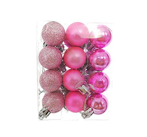 "ALIMITOPIA 24pcs Christmas Ball Baubles,1.2"" Shatterproof Assorted Plastic Hang Balls Pendant for Xmas Tree Decoration(Mini Size,Pink)"
