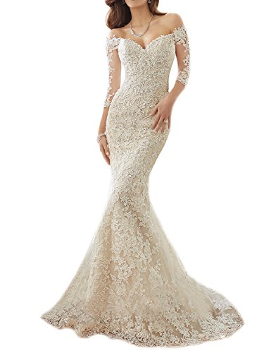 OYISHA Off Shoulder Lace Mermaid Wedding Dresses 1/2 Sleeve Bridal Gown WD164