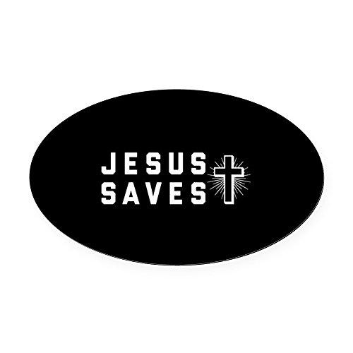 CafePress - Jesus Saves - Oval Car Magnet, Euro Oval Magnetic Bumper (Jesus Saves Car)