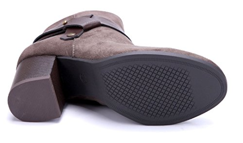 Schuhtempel24 Damen Schuhe Klassische Stiefeletten Stiefel Boots Blockabsatz 7 cm Khaki