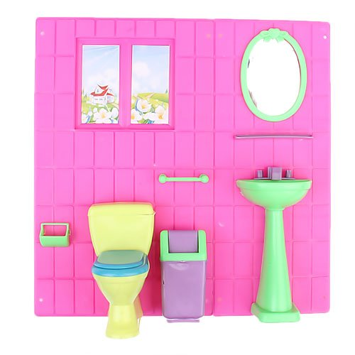 amazoncom barbie doll house furniture bathroom set toilet and wash basin home audio theater barbie doll house furniture sets