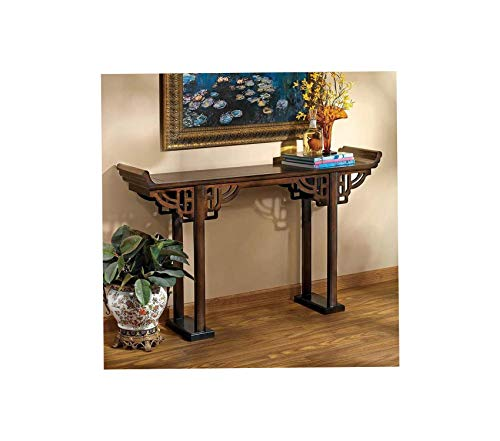 Wood & Style Furniture Forbidden City Asian Decor Console Table 54 Inch Hardwood Walnut Premium Office Home Durable Strong