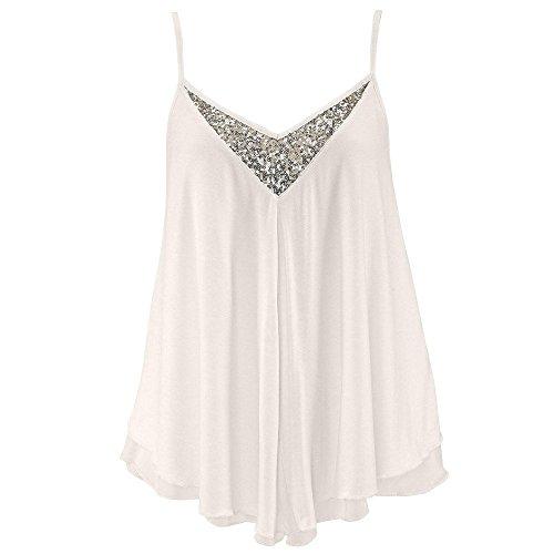 (Women Tank Tops,Elaco Womens Sequins V Neck Chiffon Vest T-Shirt Ladies Summer Blouse (White, XL))