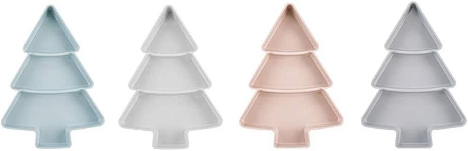 Yeshai3369 - Caja de almacenamiento para dulces con forma de árbol de Navidad, plato de fruta seca, bandeja para aperitivos y frutos secos, bandeja de desayuno rosa: Amazon.es: Hogar