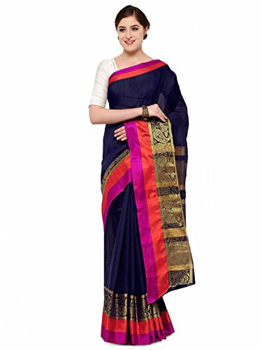Handicrfats amp; Export Indian Navy Printed Red Saree Blend Blue Satrani Silk 4XAqwxwd