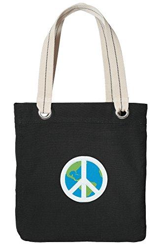 Peace Sign Tote Bag RICH COTTON CANVAS World Peace Bags Black