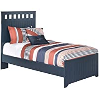 Ashley Furniture Signature Design - Leo Kids Bedset with Headboard & Footboard - Childrens Twin Size Panel Bed - Navy Blue