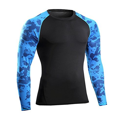 Prettywell Men's PRO Fitness Sports Fast Dry Breathable Stretch Shirt MA46 (L, blue sleeve)