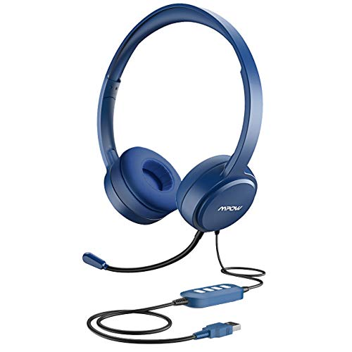 Mpow USB Headset (All-Platform Edition) with 3.5mm Jack, Stereo Computer Headset with Microphone Noise-Canceling, Skype Headphones w/Comfort-fit Earpad, Inline Volume Control for PC/Laptop/Cell Phone (Best Usb Headset For Skype)