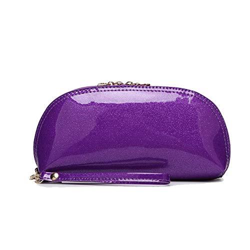 Purple Crystal Purse - Women Patent Leather Strap Clutch Purses Bags Wallets Cellphone Pouches Solid Color (purple)