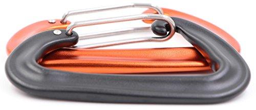 Stainless Buckle Keychain Carabiner Clip Split Ring Spring Hook Hiking Black - 9